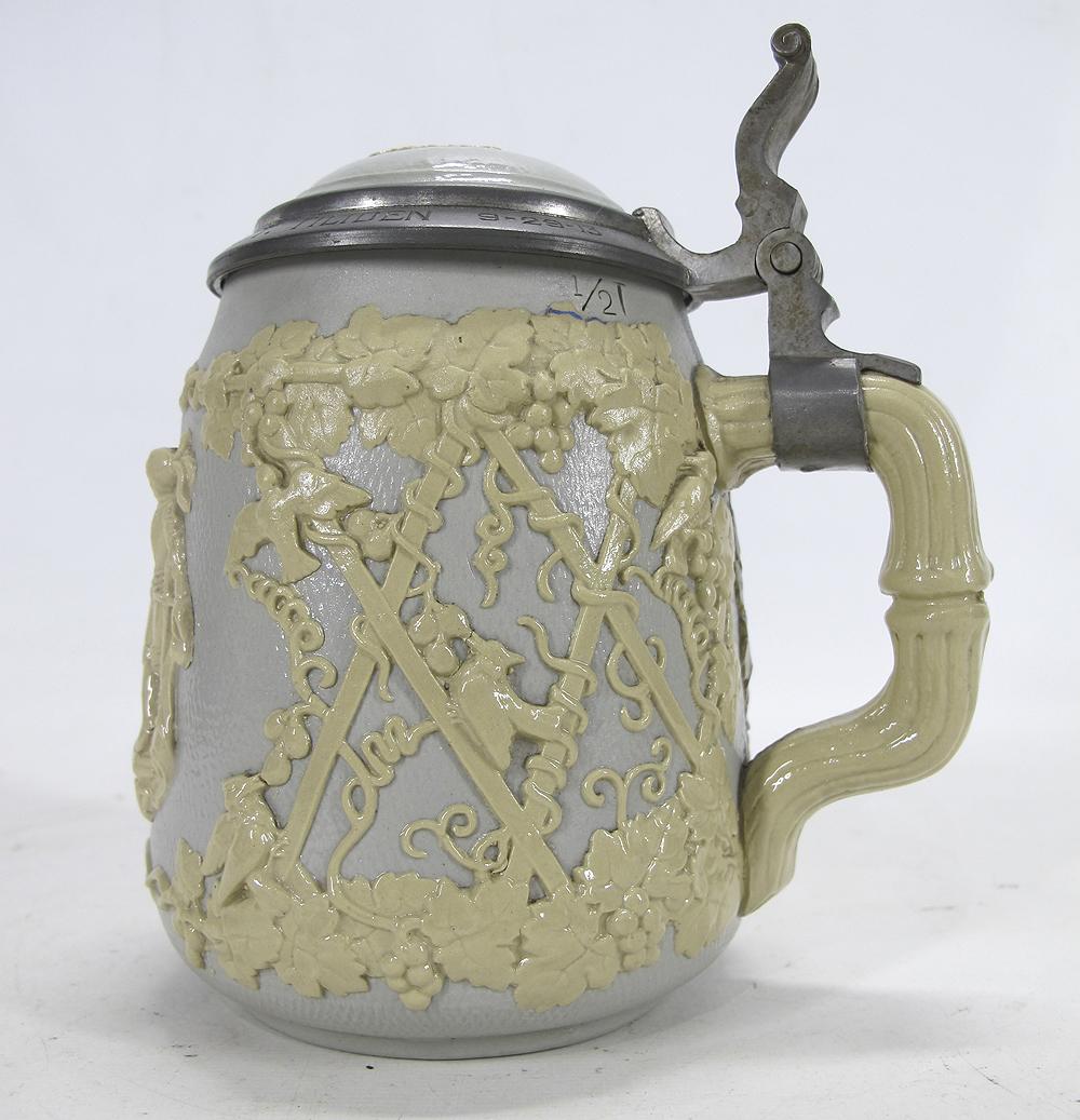 Villeroy Boch Made In Germany: Antique German Mettlach Villeroy & Boch Relief Lidded
